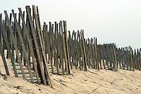 13 August 2002:  Surfer's Beach wood fences line up along the western shore of Nantucket Island off Cape Cod, MA.  Sand, grass, fence, brown, scenic, art, graphic.  Available for all uses.