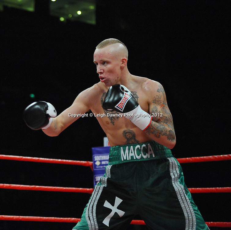 Tommy Carus defeats Sid Razak in a Lightweight contest at the Echo Arena, Liverpool on 13th October 2012. Frank Maloney Promotions © Leigh Dawney Photography 2012.