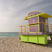 Colorful Lifeguard Hut at Miami Beach, Florida