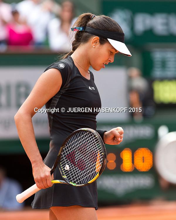 Ana Ivanovic (SRB)  macht die Faust und jubelt,Jubel,Emotion,<br /> <br /> <br /> Tennis - French Open 2015 - Grand Slam ITF / ATP / WTA -  Roland Garros - Paris -  - France  - 2 June 2015.