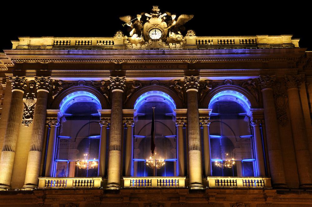 France, Languedoc Roussillon, Hérault (34), Montpellier, place de la Comédie, opera,  éclairage Yann Kersalé