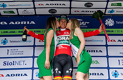 Winner Pascal Ackermann (GER) of Bora - Hansgrohe celebrates in red jersey as best in Sprint classification at trophy ceremony  during 1st Stage of 26th Tour of Slovenia 2019 cycling race between Ljubljana and Rogaska Slatina (171 km), on June 19, 2019 in  Slovenia. Photo by Vid Ponikvar / Sportida