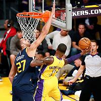10 October 2017: Utah Jazz center Rudy Gobert (27) defends on Los Angeles Lakers guard Kentavious Caldwell-Pope (1) during the Utah Jazz 105-99 victory over the LA Lakers, at the Staples Center, Los Angeles, California, USA.