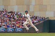 Brian Dozier #2 of the Minnesota Twins sprints for 3rd base against the Detroit Tigers on June 15, 2013 at Target Field in Minneapolis, Minnesota.  The Twins defeated the Tigers 6 to 3.  Photo: Ben Krause