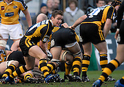 Wycombe, GREAT BRITAIN, Wasps, Eoin REDDAN passes the ball out from the back of the scrum, during the Guinness Premiership Game, London Wasps vs Leeds Carnegie, at Adams Park. 05/01/2008  [Mandatory credit Peter Spurrier/ Intersport Images].