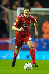 LIVERPOOL, ENGLAND - Wednesday, December 15, 2010: Liverpool's Martin Kelly in action against FC Utrecht during the UEFA Europa League Group K match at Anfield. (Photo by: David Rawcliffe/Propaganda)