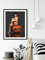 Description<br /> <br /> Based on the great works of Mel Ramos, this is a classic pinup concept with an intriguing new twist. There is a beautiful woman sitting on a giant hamburger. She is fully nude, and she doesn&rsquo;t seem to be particularly concerned about the fact that she&rsquo;s sitting on a giant sesame seed bun. However, while there is an element of the absurd here, the look on the woman&rsquo;s face wants to tell us something that is entirely different to the scene itself. We suspect the news is going to be good. This piece is available as wall art, t-shirts, or as interior home d&eacute;cor products.<br /> <br /> Where to buy<br /> Fine Art America<br /> https://janke.pixels.com/featured/hamburger-jan-keteleer.html<br /> <br /> Werk aan de muur<br /> https://www.werkaandemuur.nl/nl/shopwerk/Erotisch-naakt---Naakt-zittend-op-een-gigantische-hamburger-/445505/134