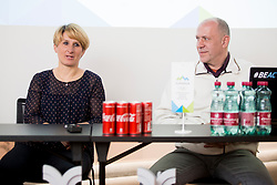 Tadeja Brankovic and Gregor Rigler - representative Slovenian Curling Association at press conference of Slovenian Curling Association before Olympic Celebration Tour in Zalog, on February 9, 2018 in Olympic center BTC, Ljubljana, Slovenia. Photo by Urban Urbanc / Sportida