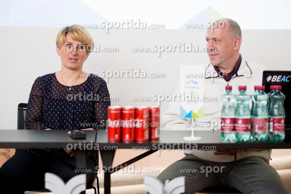 Tadeja Brankovic and Gregor Rigler - representative Slovenian Curling Association at press conference of Slovenian Curling Association before Olympic Celebration Tour in Zalog, on February 9, 2018 in Olympic center BTC, Ljubljana, Slovenia. Photo by Urban Urbanc / Sportida
