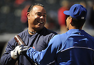 CLEVELAND, OH USA - APRIL 5: Former Cleveland Indian Carlos Baerga and former Indians and current Toronto Blue Jay Omar Vizquel before the game between the Cleveland Indians and Toronto Blue Jays at Progressive Field in Cleveland, OH, USA on Thursday, April 5, 2012.