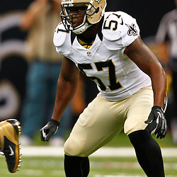 August 17, 2012; New Orleans, LA, USA; New Orleans Saints linebacker David Hawthorne (57) against the Jacksonville Jaguars during the first half of a preseason game at the Mercedes-Benz Superdome. Mandatory Credit: Derick E. Hingle-US PRESSWIRE