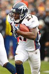 December 19, 2010; Oakland, CA, USA;  Denver Broncos running back Knowshon Moreno (27) rushes up field against the Oakland Raiders during the first quarter at Oakland-Alameda County Coliseum. Oakland defeated Denver 39-23.