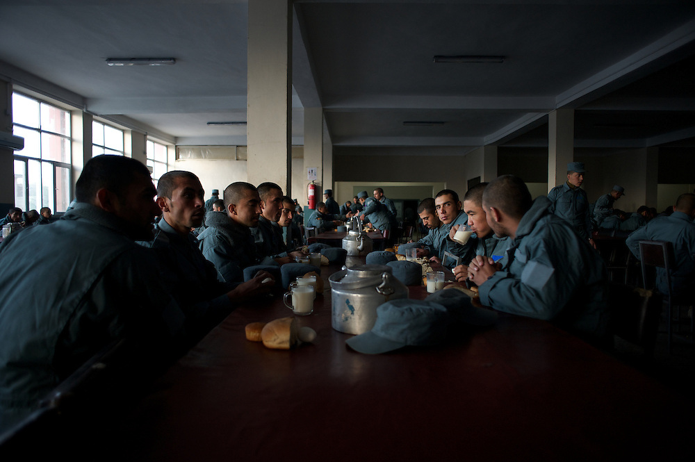 November 14, 2012 - Kabul, Afghanistan: Afghan National Police (ANP) cadets take their breakfast at the Afghan Nacional Police Academy...ANP Academy trains 1250 cadets at the time during a period of four years. Every year, five hundred new recruits are selected, out of more than nine thousand of candidates, to join the academy and other five hundred graduate. Fifteen per cent of the recruits are women. (Paulo Nunes dos Santos)
