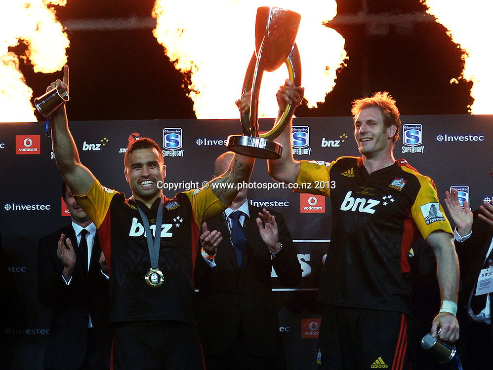 Chiefs captains Craig Clarke and Liam Messam with the silverware after defeating the Brumbies 27-22. Super Rugby Final. Chiefs v Brumbies. Waikato Stadium, Hamilton, New Zealand on Saturday 3 August 2013. Photo: Andrew Cornaga/www.Photosport.co.nz