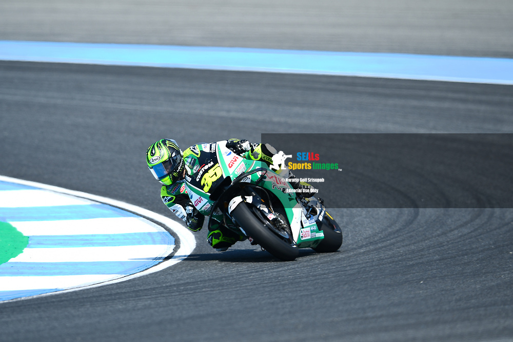 BURIRAM, THAILAND - OCTOBER 06: Cal Crutchlow (35) of England and LCR Honda CASTROL in Turn 3 during FP3 at the MotoGP PTT Thailand Grand Prix 2018, Chang International Circuit, Buriram, Thailand on October 06, 2018. <br /> .<br /> .<br /> .<br /> (Photo by: Naratip Golf Srisupab/SEALs Sports Images)<br /> .<br /> Any image use must include a mandatory credit line adjacent to the content which should read: Naratip Golf Srisupab/SEALs Sports Images