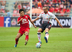 BANGKOK, THAILAND - Sunday, July 28, 2013: Liverpool's Jose Enrique in action against Thailand XI during a preseason friendly match at the Rajamangala National Stadium. (Pic by David Rawcliffe/Propaganda)