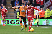 Diego Fabbrini of Middlesbrough FC and Jake Livermore of Hull City fight for ball during the Sky Bet Championship match between Hull City and Middlesbrough at the KC Stadium, Kingston upon Hull, England on 7 November 2015. Photo by Ian Lyall.