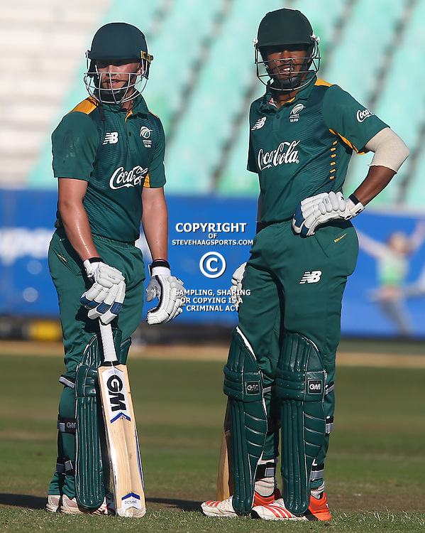 DURBAN, SOUTH AFRICA ,Sunday 19th July, Liam Smith of SA u19s with Abdu Galliem of SA u19s during the  South African under 19s vs the Bangladesh under 19s Cricket Series the last ODI match at Sahara Stadium Kingsmead Sunday 19th July Durban (Photo by Steve Haag)