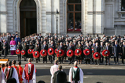 © Licensed to London News Pictures. 10/11/2019. London, UK.Politicians attend the Remembrance Sunday ceremony at the Cenotaph memorial in Whitehall, central London. Remembrance Sunday is held each year to commemorate the service men and women who fought in past military conflicts. Photo credit: Dinendra Haria/LNP