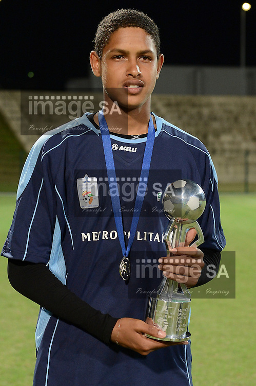 DURBAN, SOUTH AFRICA - OCTOBER 06, Keagan Pool of Rosina Sedibane received the Goalkeeper of the tournament award during the Metropolitan SASFA U/16 Cup at King Zwelithini Stadium on October 06, 2012 in Durban, South Africa..Photo by Roger Sedres / Image SA / Gallo Images