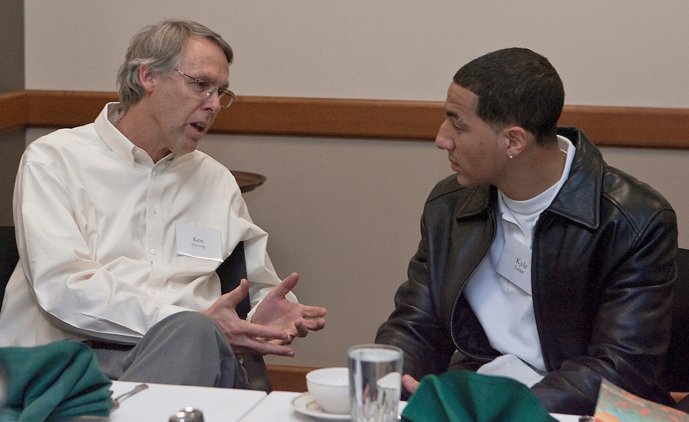 (from left) Ken Hartung, Executive Director of Ralph & Luci Schey Sales Center, mentors Ohio University sophomore, Kyle Lester during dinner in Baker University Center as part of the Business Program for Minorities on Friday, January 31, 2008.