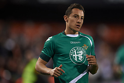 February 28, 2019 - Valencia, Valencia, Spain - Andres Guardado of Betis during the Copa del Rey Semi Final match second leg between Valencia CF and Real Betis Balompie at Mestalla Stadium in Valencia, Spain on February 28, 2019. (Credit Image: © Jose Breton/NurPhoto via ZUMA Press)