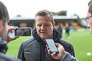 Forest Green Rovers manager, Mark Cooper pre match interview during the EFL Sky Bet League 2 match between Cambridge United and Forest Green Rovers at the Cambs Glass Stadium, Cambridge, England on 7 September 2019.