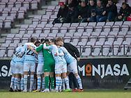 FODBOLD: FC Helsingør gør sig klar til kampen i NordicBet Ligaen mellem FC Fredericia og FC Helsingør den 10. marts 2019 på Monjasa Park i Fredericia. Foto: Claus Birch