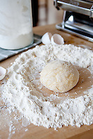Handmade pasta dough made out of flour and eggs.