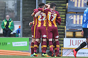 GOAL Matthew Kilgallon celebrates 1-0 during the EFL Sky Bet League 1 match between Bradford City and Rochdale at the Northern Commercials Stadium, Bradford, England on 9 December 2017. Photo by Daniel Youngs.