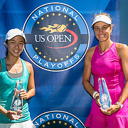 August 23, 2016, New Haven, Connecticut: <br /> Danielle Lao and Jacqueline Cako pose for a photograph with the trophies after winning the US Open National Playoffs women's doubles finals on Day 5 of the 2016 Connecticut Open at the Yale University Tennis Center on Tuesday, August  23, 2016 in New Haven, Connecticut. <br /> (Photo by Billie Weiss/Connecticut Open)