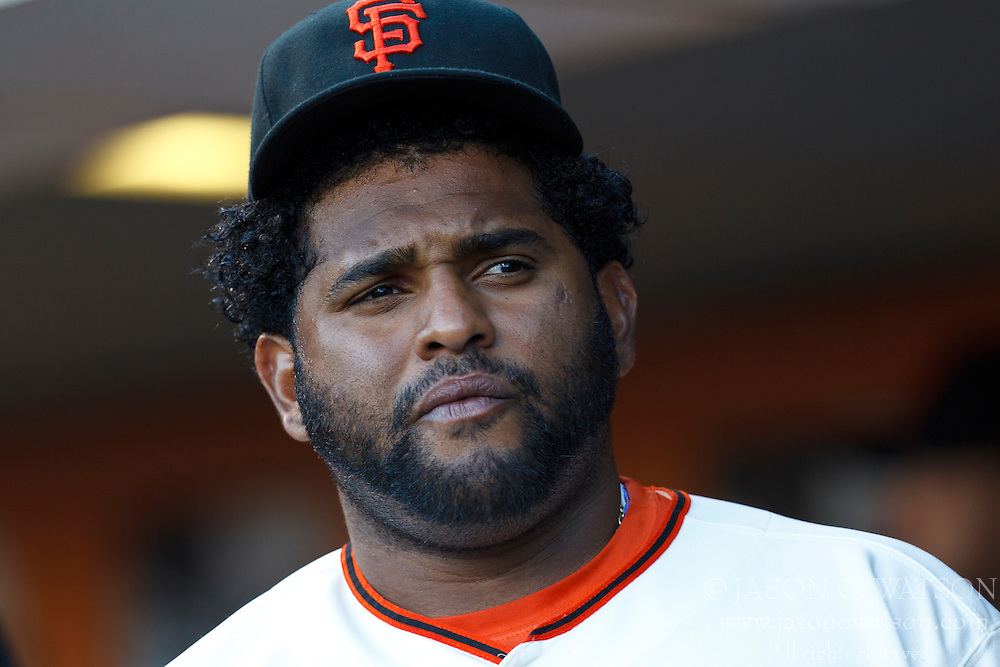 SAN FRANCISCO, CA - JUNE 13: Pablo Sandoval #48 of the San Francisco Giants stands in the dugout before the game against the Houston Astros at AT&T Park on June 13, 2012 in San Francisco, California. The San Francisco Giants defeated the Houston Astros 10-0. (Photo by Jason O. Watson/Getty Images) *** Local Caption *** Pablo Sandoval