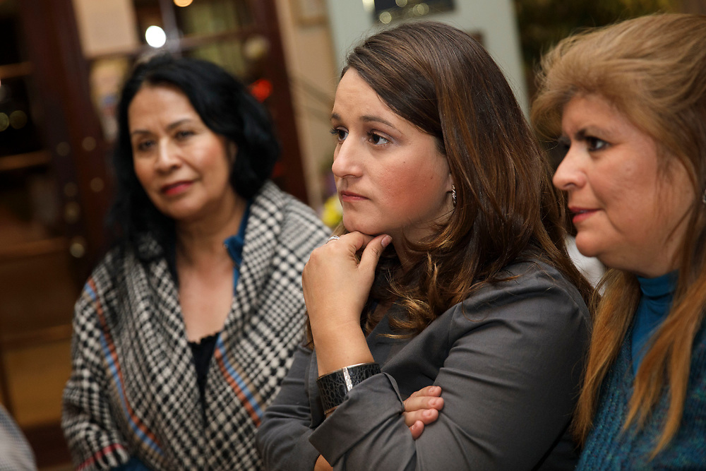 Candidate Imelda Padilla reacts to early too close to call voting results during an LAUSD School Board District 6 election night event for candidate Imelda Padilla at Buon Gusto Ristorante on Tuesday, May 16, 2017 in Mission Hills, Calif. Candidates backed by charter school supporters won their first majority on the Los Angeles Board of Education as Kelly Gonez - a teacher at a charter school - collected more votes than Imelda Padilla to win District 6. © 2017 Patrick T. Fallon