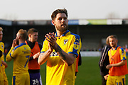 Wimbledon midfielder Anthony Wordsworth (40) applauds the fans at full time during the EFL Sky Bet League 1 match between Scunthorpe United and AFC Wimbledon at Glanford Park, Scunthorpe, England on 30 March 2019.