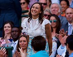 LONDON, ENGLAND - Saturday, July 7, 2018: Athlete Jessica Ennis in the Royal Box before the Gentlemen's Singles 3rd Round match on day six of the Wimbledon Lawn Tennis Championships at the All England Lawn Tennis and Croquet Club. (Pic by Kirsten Holst/Propaganda)
