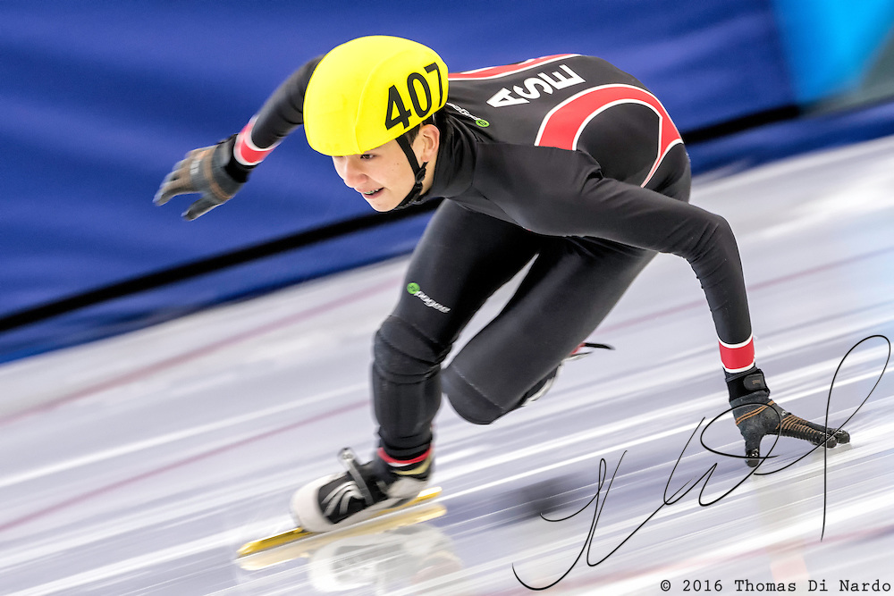December 17, 2016 - Kearns, UT - Joel Foster skates during US Speedskating Short Track Junior Nationals and Winter Challenge Short Track Speed Skating competition at the Utah Olympic Oval.