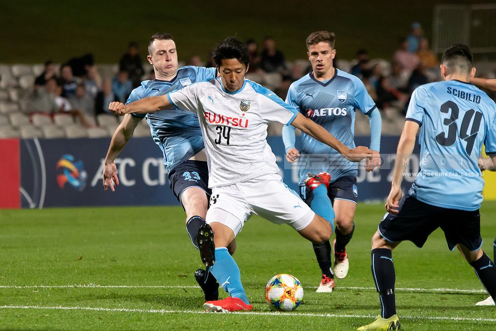 SYDNEY, AUSTRALIA - MAY 21: Kawasaki Frontale player Kazuya Yamamura (34) has a shot at goal at AFC Champions League Soccer between Sydney FC and Kawasaki Frontale on May 21, 2019 at Netstrata Jubilee Stadium, NSW. (Photo by Speed Media/Icon Sportswire)