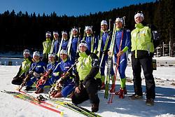 First line (from L): Matej Oblak, Tadeja Brankovic Likozar, Andreja Mali, Teja Gregorin and Mitja Racecic; second line: Tomas Kos, Jakov Fak, Peter Dokl, Klemen Bauer, Janez Maric, Vasja Rupnik, Vid Voncina and Uros Velepec during Media day of Slovenian biathlon team on November 12, 2010 at Rudno polje, Pokljuka, Slovenia. (Photo By Vid Ponikvar / Sportida.com)