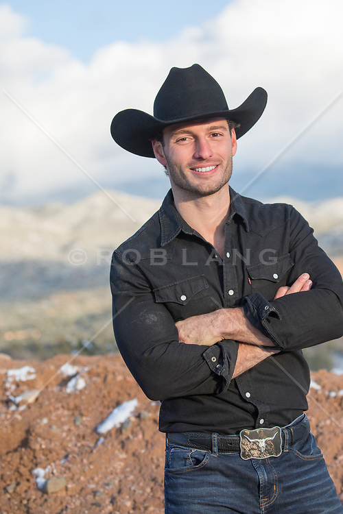 handsome cowboy smiling