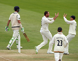 Durham's John Hastings celebrates the wicket of Middlesex's James Franklin - Photo mandatory by-line: Robbie Stephenson/JMP - Mobile: 07966 386802 - 04/05/2015 - SPORT - Football - London - Lords  - Middlesex CCC v Durham CCC - County Championship Division One