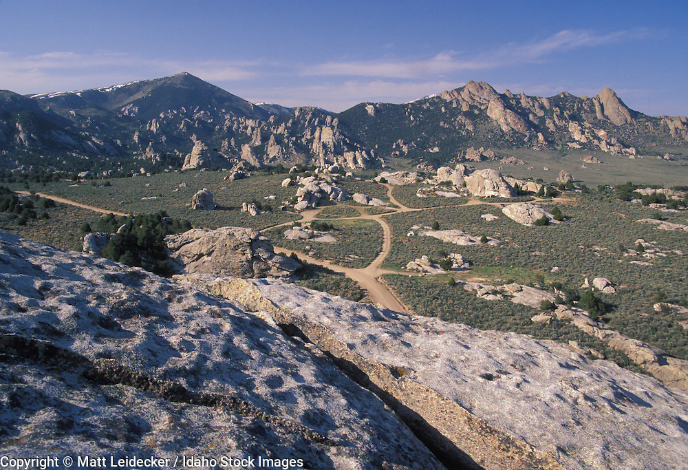 Idaho, City of Rocks.  View of bloulders and vallyey from Elephant rock.