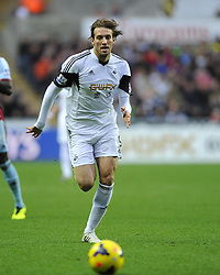 Swansea City's Michu chess the ball - Photo mandatory by-line: Joe Meredith/JMP - Tel: Mobile: 07966 386802 27/10/2013 - SPORT - FOOTBALL - Liberty Stadium - Swansea - Swansea City v West Ham United - Barclays Premier League