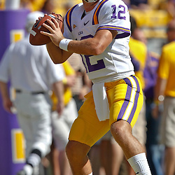 October 1, 2011; Baton Rouge, LA, USA;  LSU Tigers quarterback Jarrett Lee (12) prior to kickoff of a game against the Kentucky Wildcats at Tiger Stadium.  Mandatory Credit: Derick E. Hingle-US PRESSWIRE / © Derick E. Hingle 2011