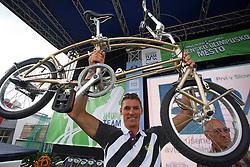 Vasilij Zbogar get a bike at welcome ceremony in Olympic City BTC, on August 23, 2008, in Alea Mladih, BTC, Ljubljana, Slovenia. (Photo by Vid Ponikvar / Sportal Images)./ Sportida)