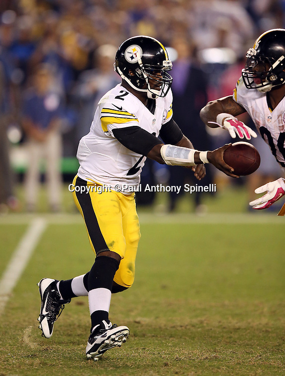 Pittsburgh Steelers quarterback Mike Vick (2) hands off the ball on the final drive of the fourth quarter during the 2015 NFL week 5 regular season football game against the San Diego Chargers on Monday, Oct. 12, 2015 in San Diego. The Steelers won the game 24-20. (©Paul Anthony Spinelli)