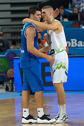 Edo Muric of Slovenia and Alessandro Gentile #5 of Italy during basketball match between national team of Slovenia and Italy of Eurobasket 2013 on September 12, 2013 in SRC Stozice, Ljubljana, Slovenia. (Photo By Matic Klansek Velej / Sportida.com)