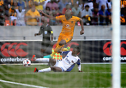 David Zulu of Chippa United tackles Ramahlwe Mphahlele of Kaizer Chiefs during the 2016 Premier Soccer League match between Chippa United and Kaizer Chiefs held at the Nelson Mandela Bay Stadium in Port Elizabeth, South Africa on the 3rd December 2016.<br /> <br /> Photo by:   Richard Huggard / Real Time Images