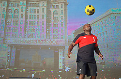 LIVERPOOL, ENGLAND - Monday, May 9, 2016: Richard Braithwaite AKA 'Mr Silky Skills' performs at the launch of the New Balance 2016/17 Liverpool FC kit at a live event in front of supporters at the Royal Liver Building on Liverpool's historic World Heritage waterfront. (Pic by David Rawcliffe/Propaganda)