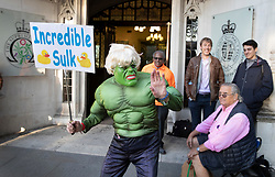 © Licensed to London News Pictures. 17/09/2019. London, UK. A protestor outside The Supreme Court mocks Prime Minister Boris Johnson's claim to be like The Hulk superhero character. Today the court will start hearing appeals against Scottish and English courts decisions on the government's proroguing of Parliament. Photo credit: Peter Macdiarmid/LNP