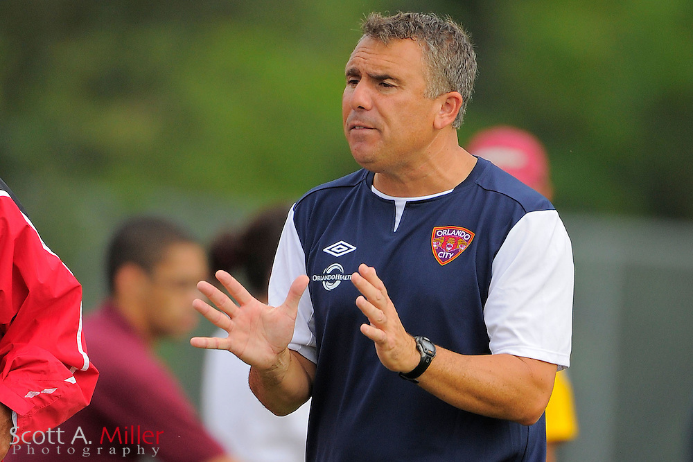 Orlando City U23 coach Joe Avallone during City's 4-1 win over the Austin Aztex in the PDL Southern Conference Championships final at Trinity Catholic High Schooll on July 22, 2012 in Ocala, Florida. ..©2012 Emily A. Miller